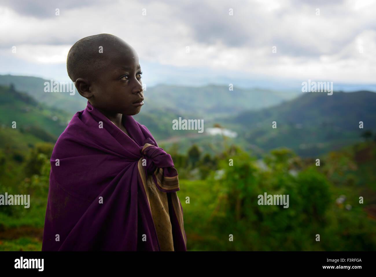 Boy in the Virunga region, Uganda, Africa - Stock Image
