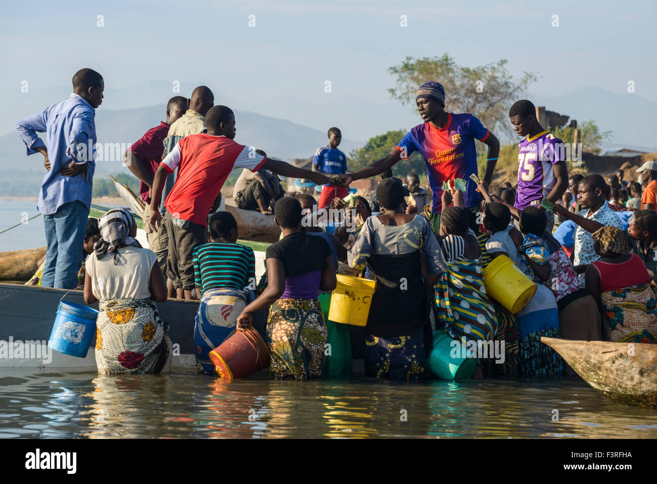 Open-air fish market at the Lake Malawi, Malawi, Africa - Stock Image