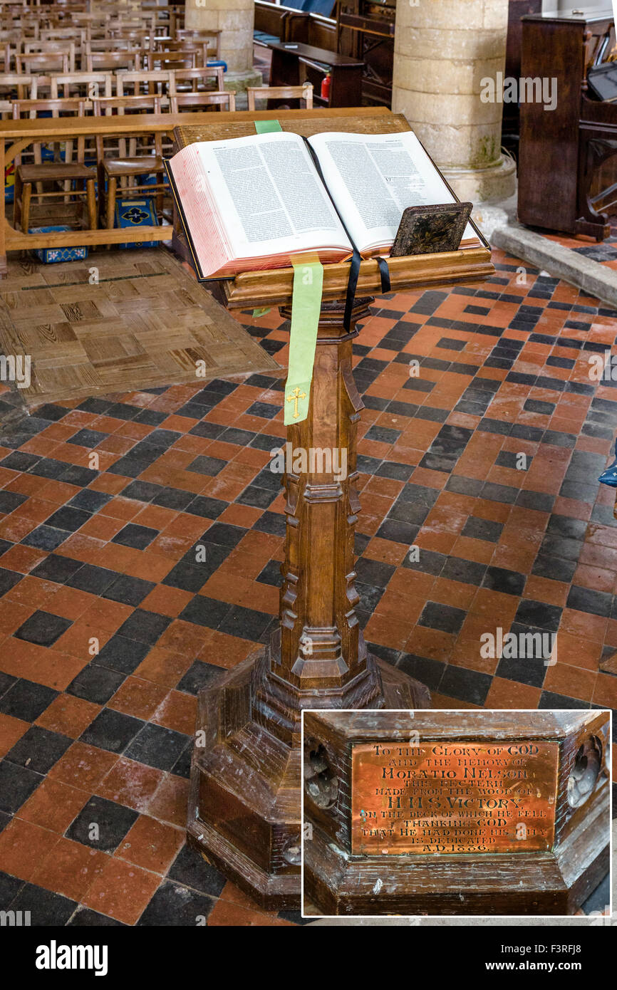 The lectern in All Saints Church, made from wood from Nelson's flagship HMS Victory, Burnham Thorpe, Norfolk, - Stock Image