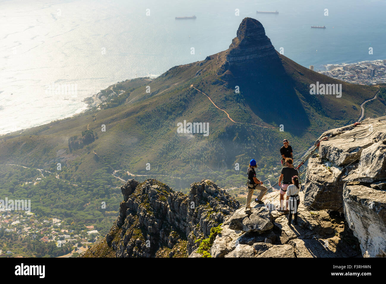Rappelling on Table mountain, Cape Town, South Africa - Stock Image