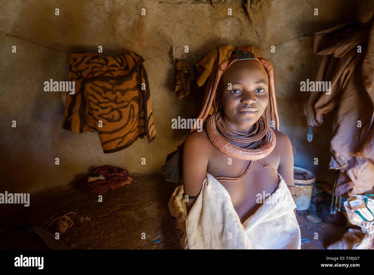 Girls of Himba tribe in Kaokoland, Namibia, Africa - Stock Image
