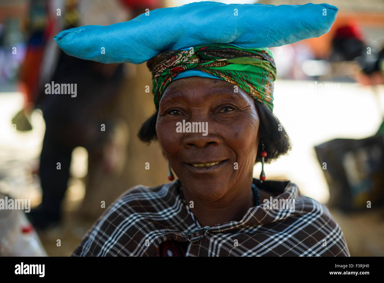 Woman of Herero tribe, Opuwo, Namibia, Africa - Stock Image