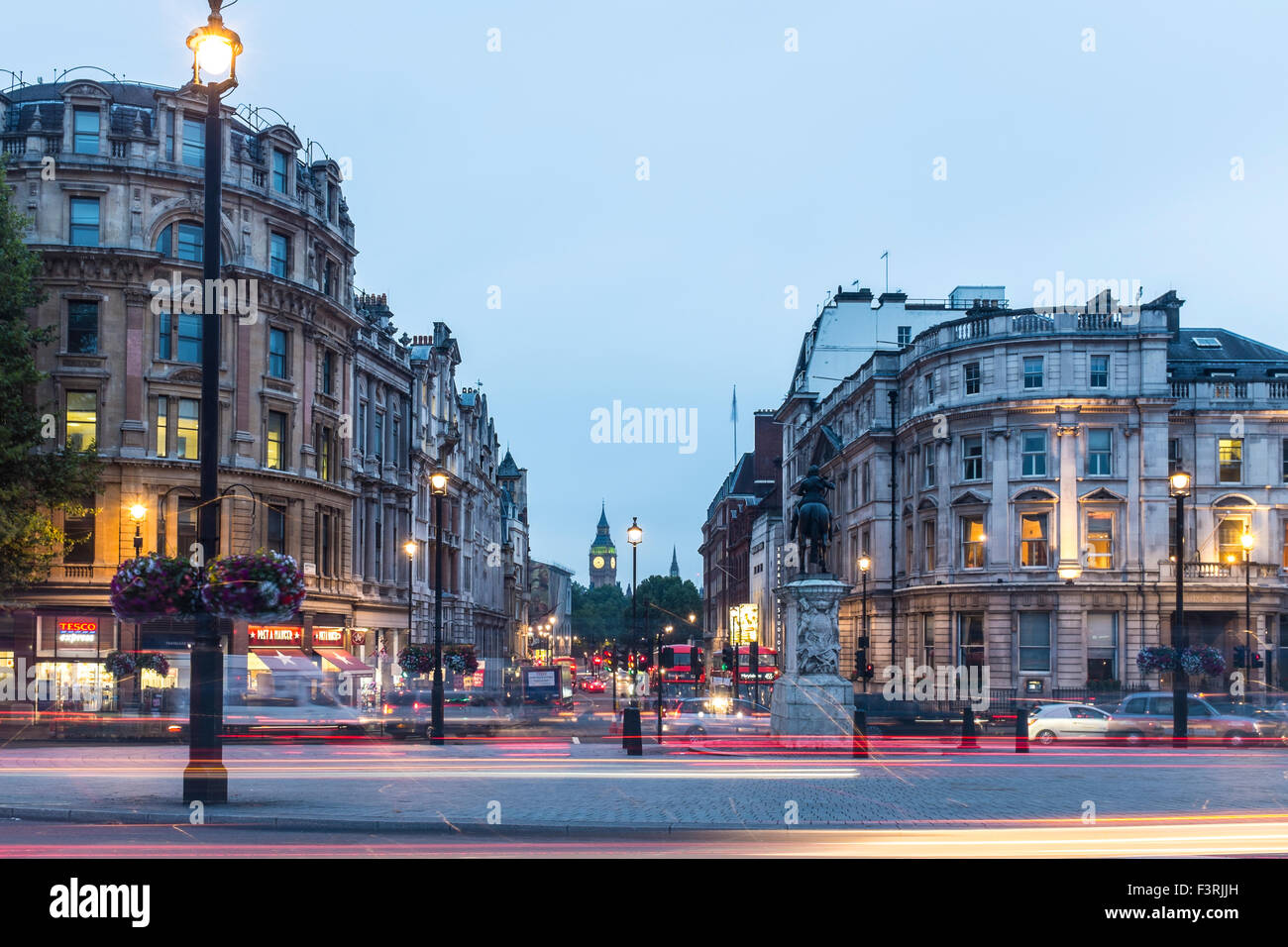 View from Trafalgar Square to Whitehall and Big Ben, London, United Kingdom - Stock Image