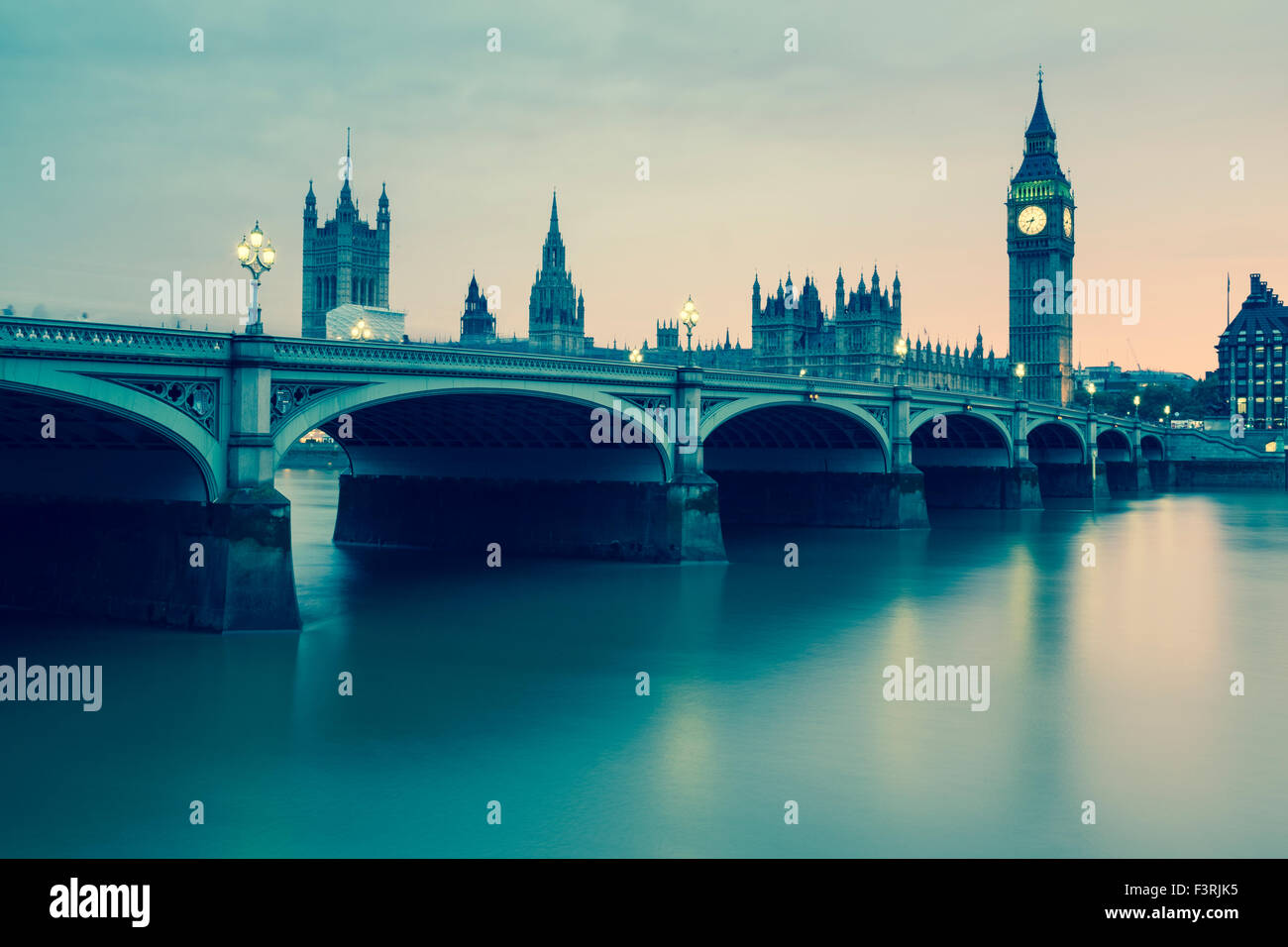 Westminster Bridge, Palace of Westminster and Big Ben, London, United Kingdom - Stock Image