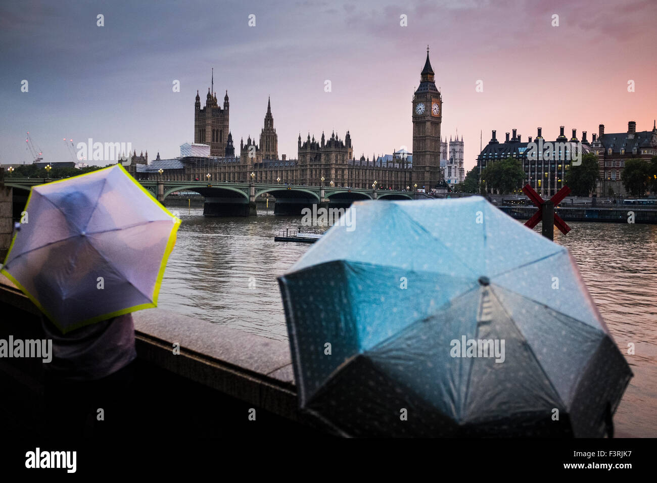 Westminster Bridge, Big Ben and Westminster Palace in rainy weather, London, United Kingdom - Stock Image