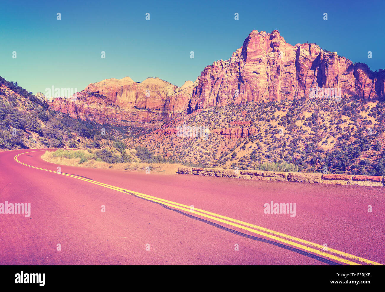 Vintage stylized country road in Zion National Park, Utah, USA. - Stock Image