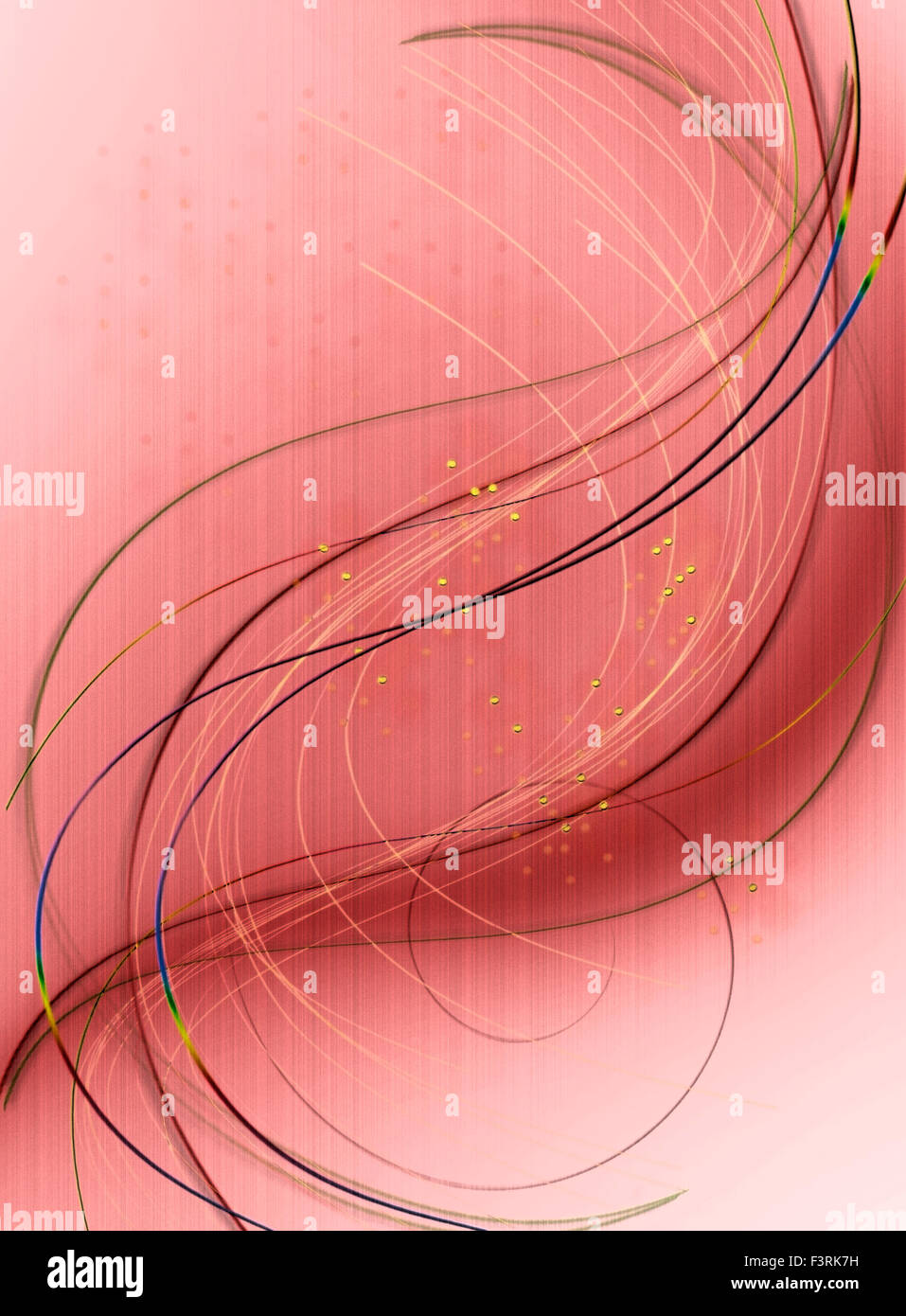 Reddish brown background with curves, spirals and golden balls - Stock Image