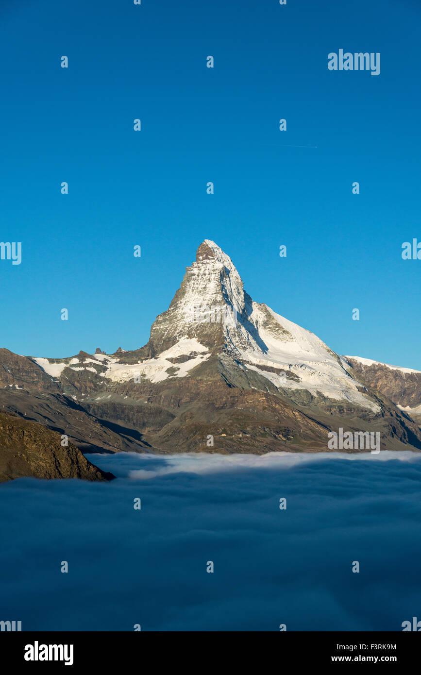 Matterhorn with cloud cover, Switzerland - Stock Image
