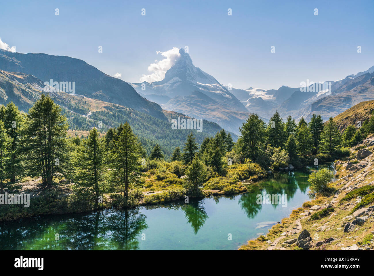 The Grindjisee with view of the Matterhorn Stock Photo