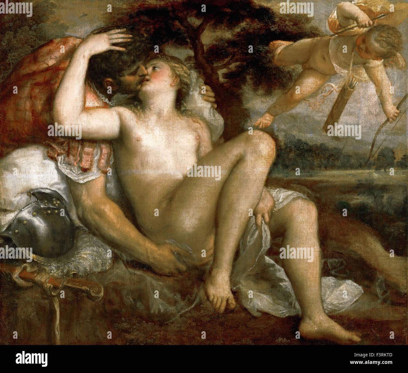 Tiziano Vecellio - Titian - Mars, Venus and Amor - Stock Image