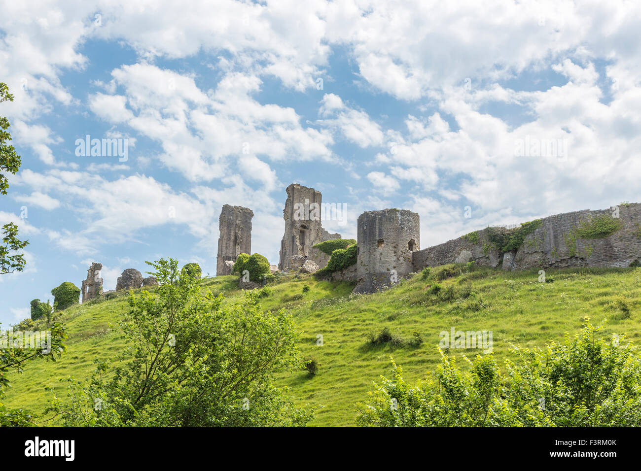 The hilltop ruins of Corfe Castle in Corfe, Dorset, south-west England on a sunny day with white fluffy clouds and - Stock Image