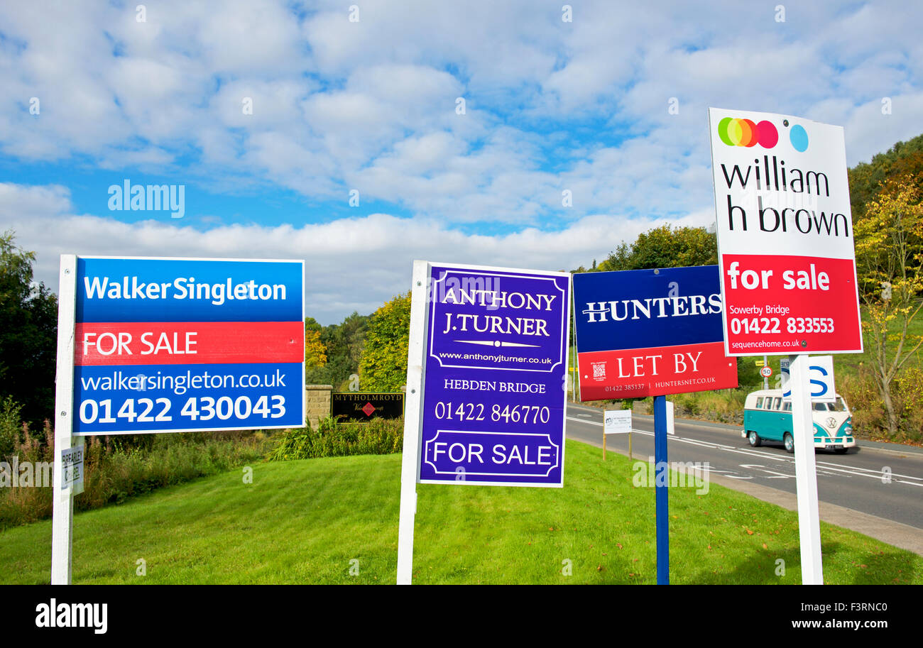 House for sale and to let signs, England UK - Stock Image