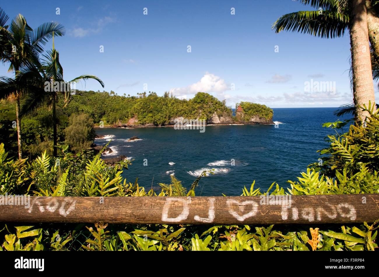 Coastal views from the Panoramic Route Pepe'ekeo. Big Island. Hawaii. Pepe'ekeo scenic drive. The Pepe'ekeo - Stock Image