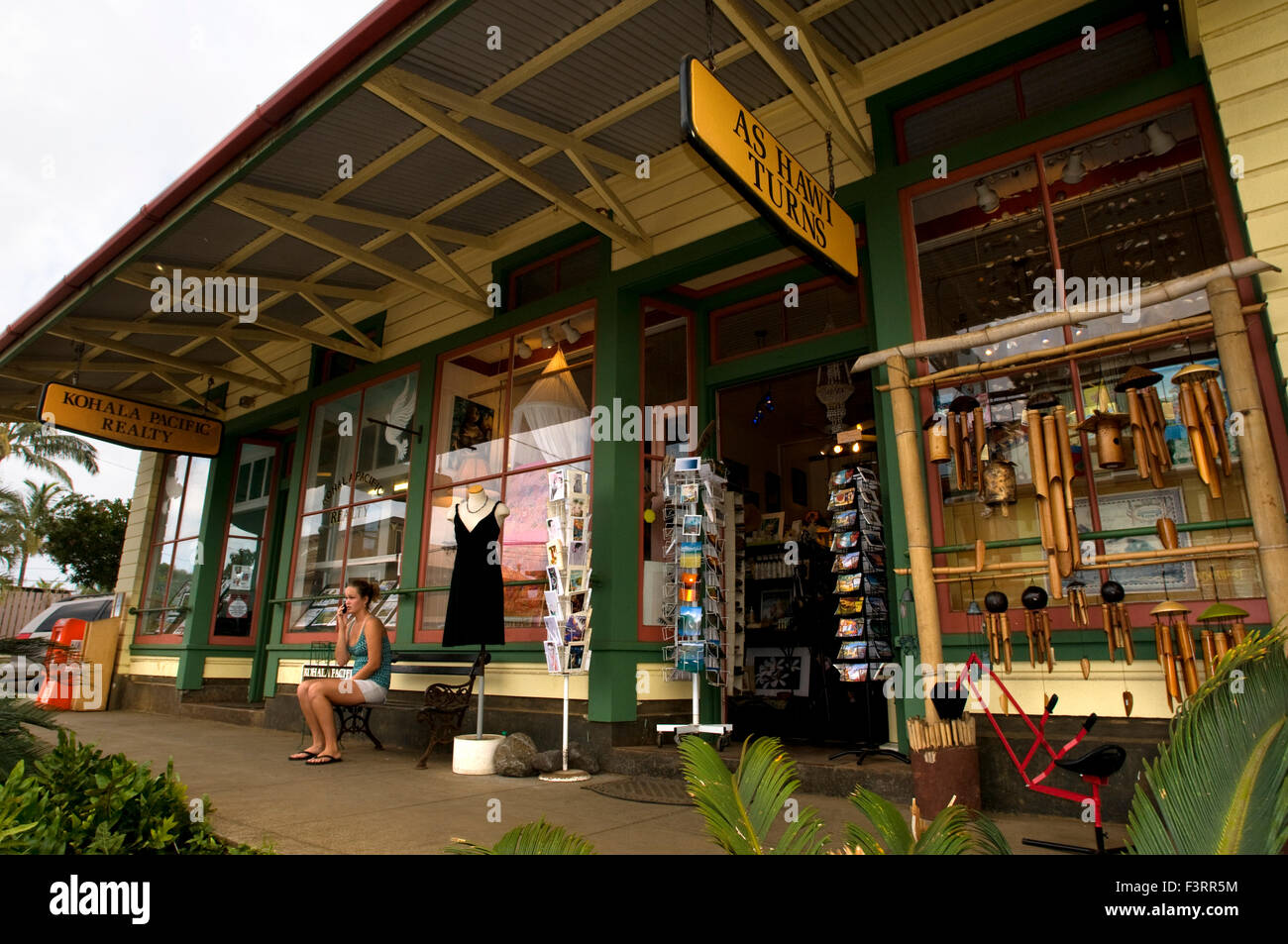 Hawi is the most northern town. Wooden houses painted in bold colors transform you into an atmosphere of the seventies, Stock Photo