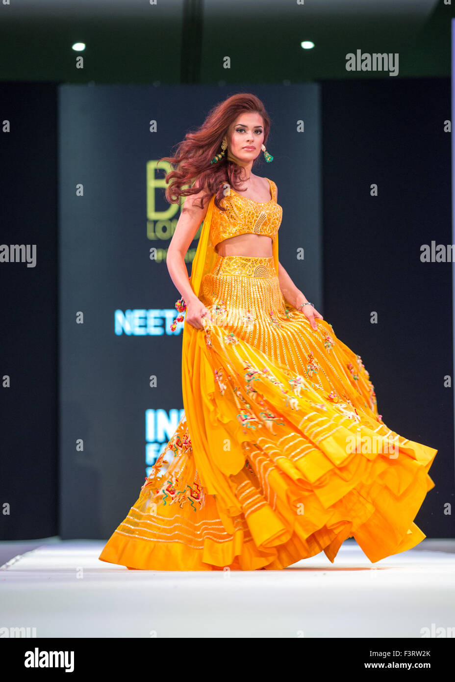 Opening night of inaugural India Fashion Week London. Neeha Dupia attends. - Stock Image