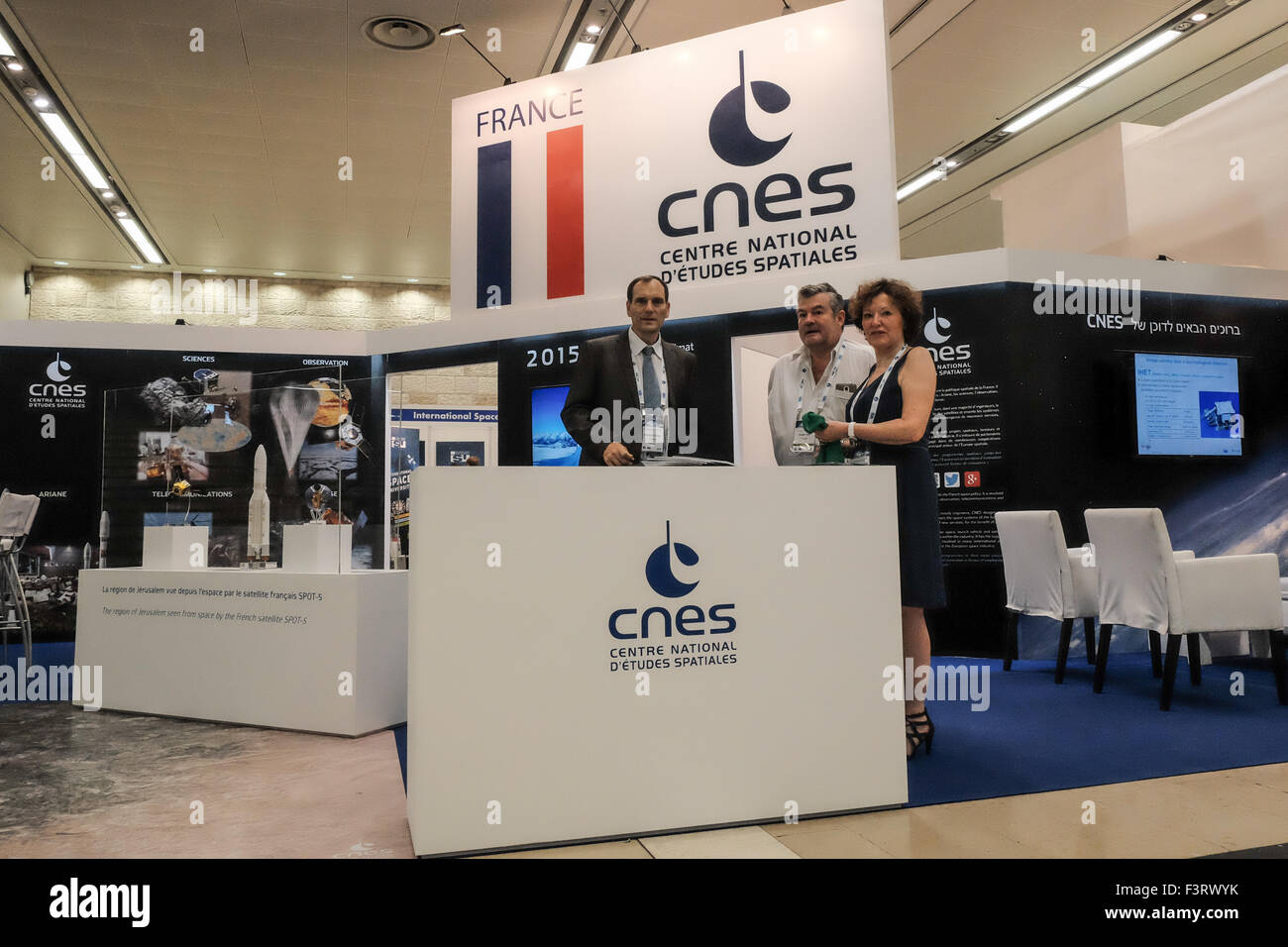 Israel. 12th October, 2015. CNES France, Centre National d'Etudes Spatiales, mans a booth at the International - Stock Image