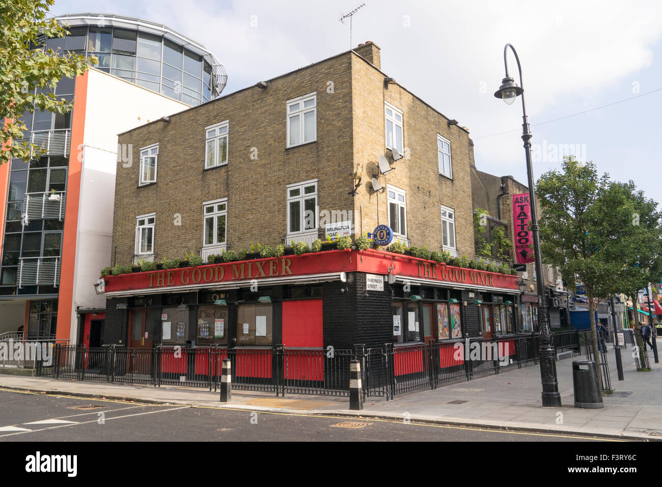 The Good MIxer Public House in Camden Town famous as a pub frequented by musicians - Stock Image