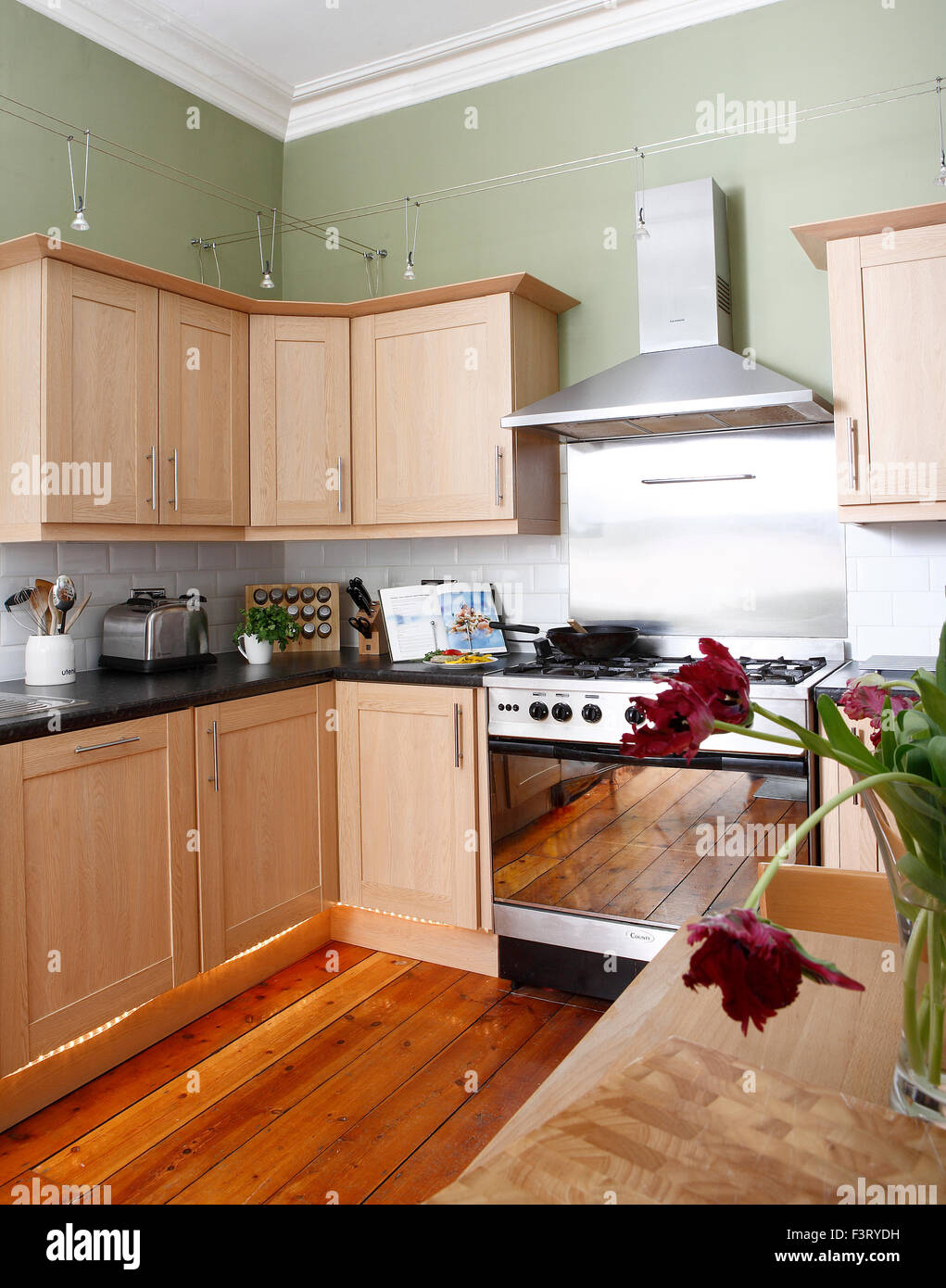 olive green kitchen with wooden units Stock Photo: 88422253 ...