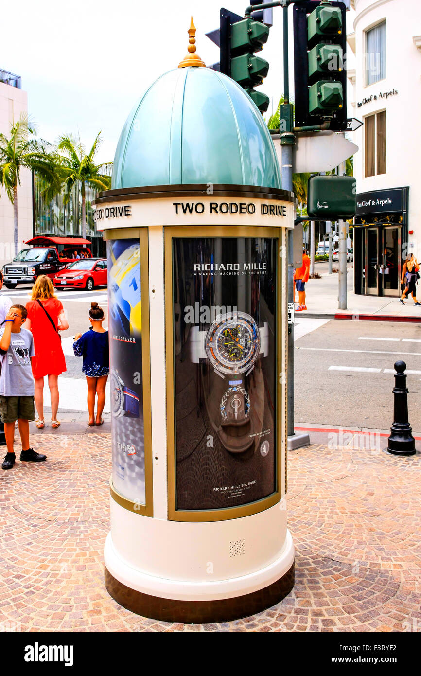 Two Rodeo Drive advertising tube in Beverly Hills California Stock Photo