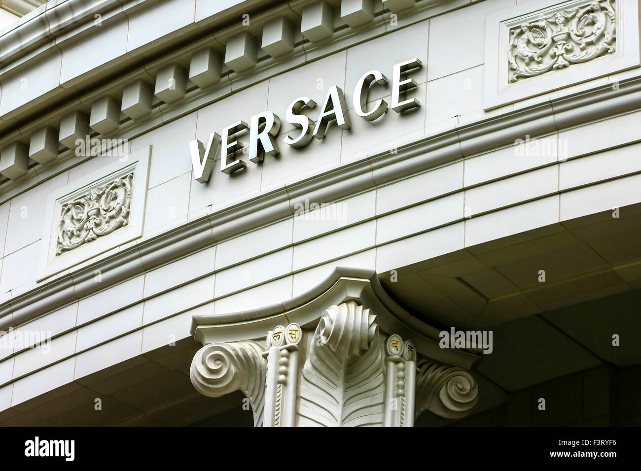 Versace Store Overhead Sign On Rodeo Drive In Beverly Hills Stock