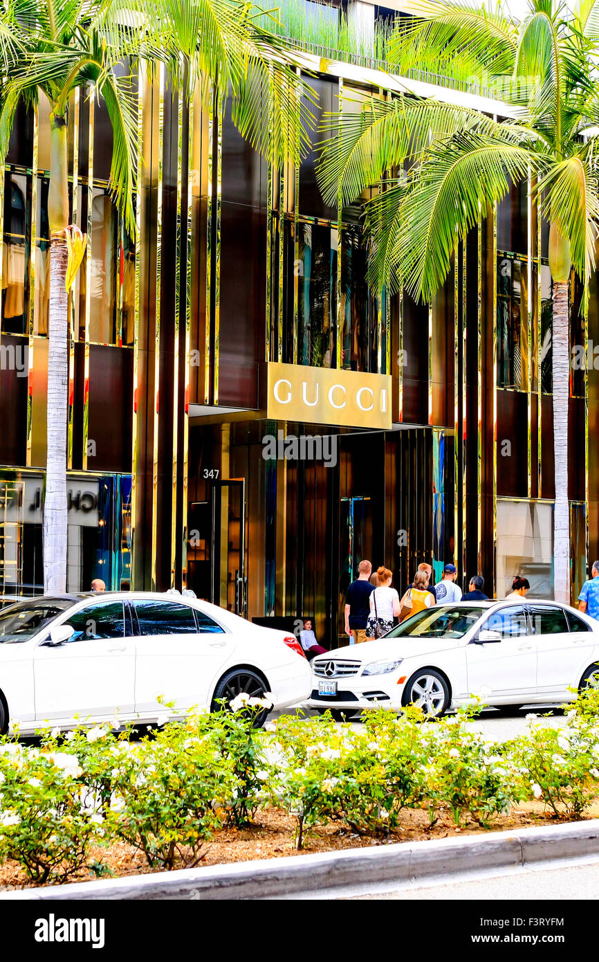 e44cdddb587 Gucci store overhead sign on Rodeo Drive in Beverly Hills California - Stock  Image