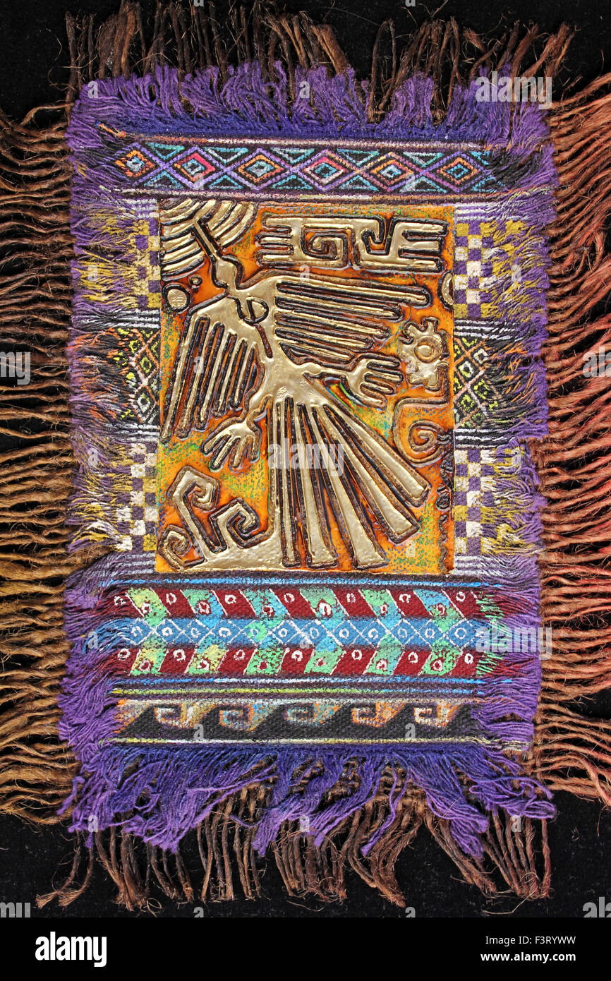Colourful Woven And Embellished Nazca Line Art - Stock Image