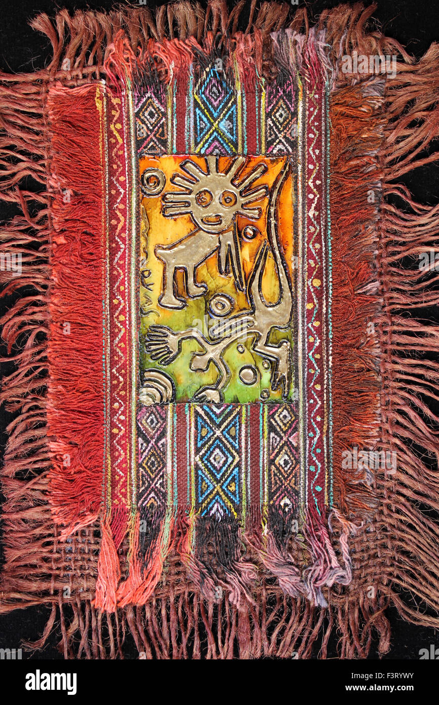 Colourful Woven And Embellished Nazca Lines Art - Stock Image
