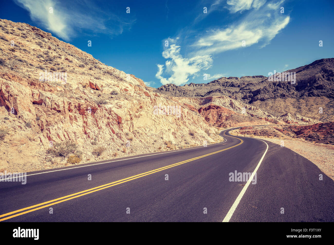 Vintage retro stylized country road, USA. - Stock Image