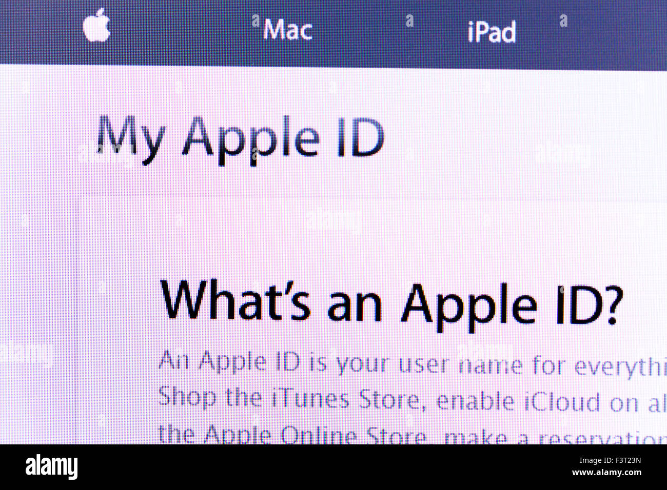 Apple ID store mac website homepage online screen screenshot web site internet net - Stock Image