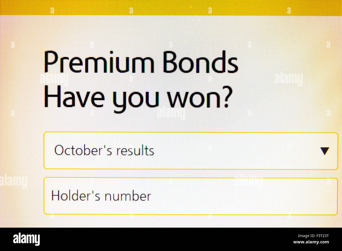 Premium Bonds results website homepage online screen screenshot web site internet net have you won check checking - Stock Image