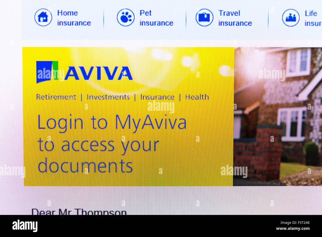 Aviva insurance website homepage online screen screenshot web site internet net login access - Stock Image