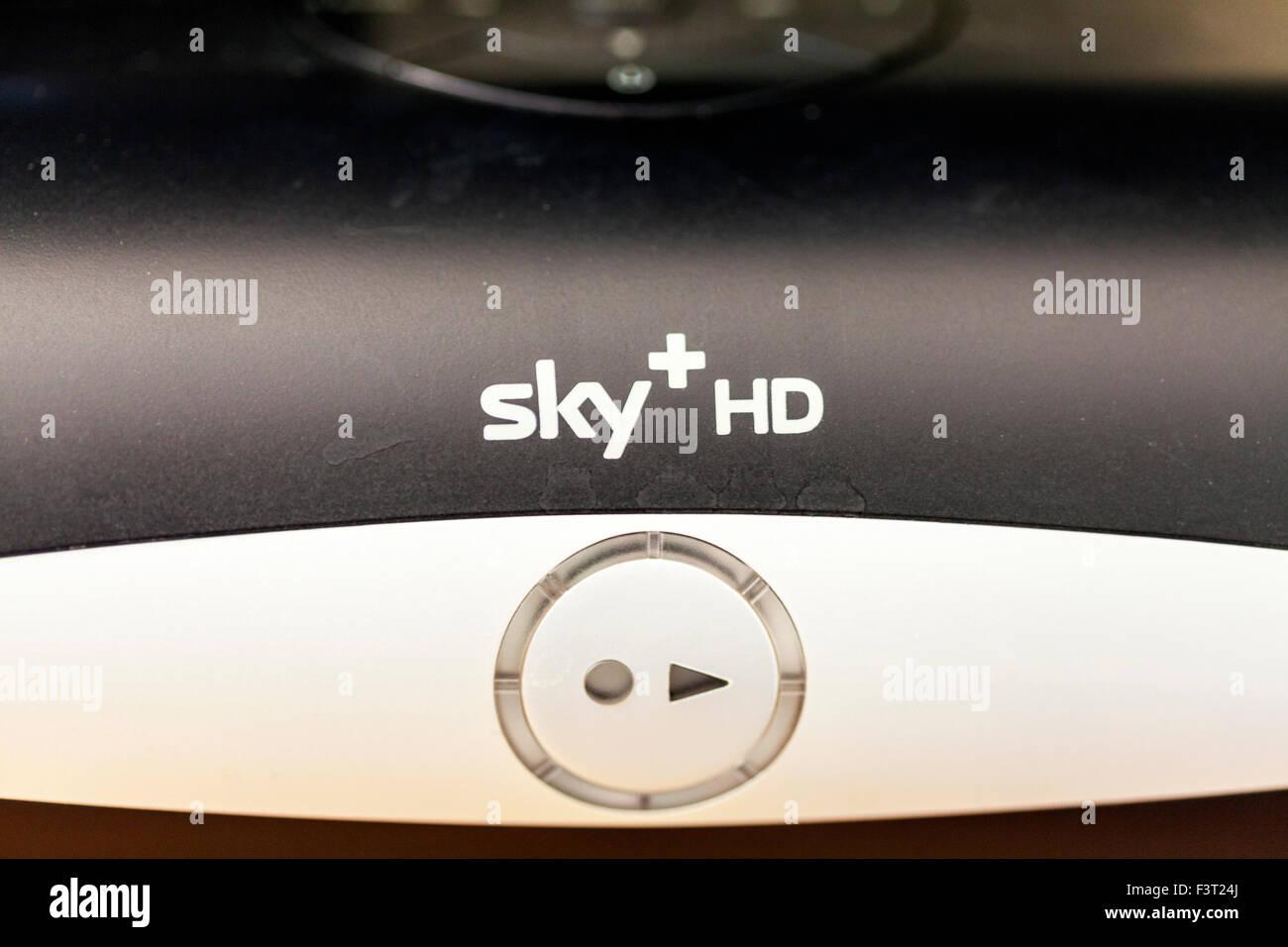 Sky HD box TV television satellite streaming box sky+ bskyb logo name - Stock Image