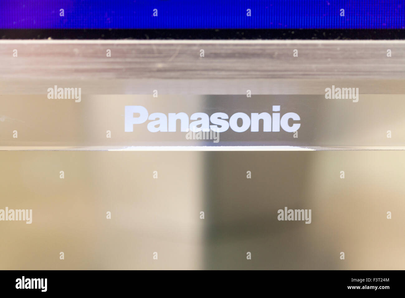 Panasonic name on TV electronic electronics logo white copy space - Stock Image