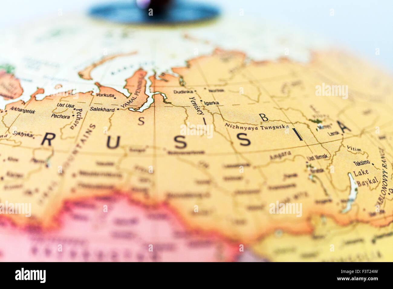 Russia map atlas country view regions cities name names words Stock ...