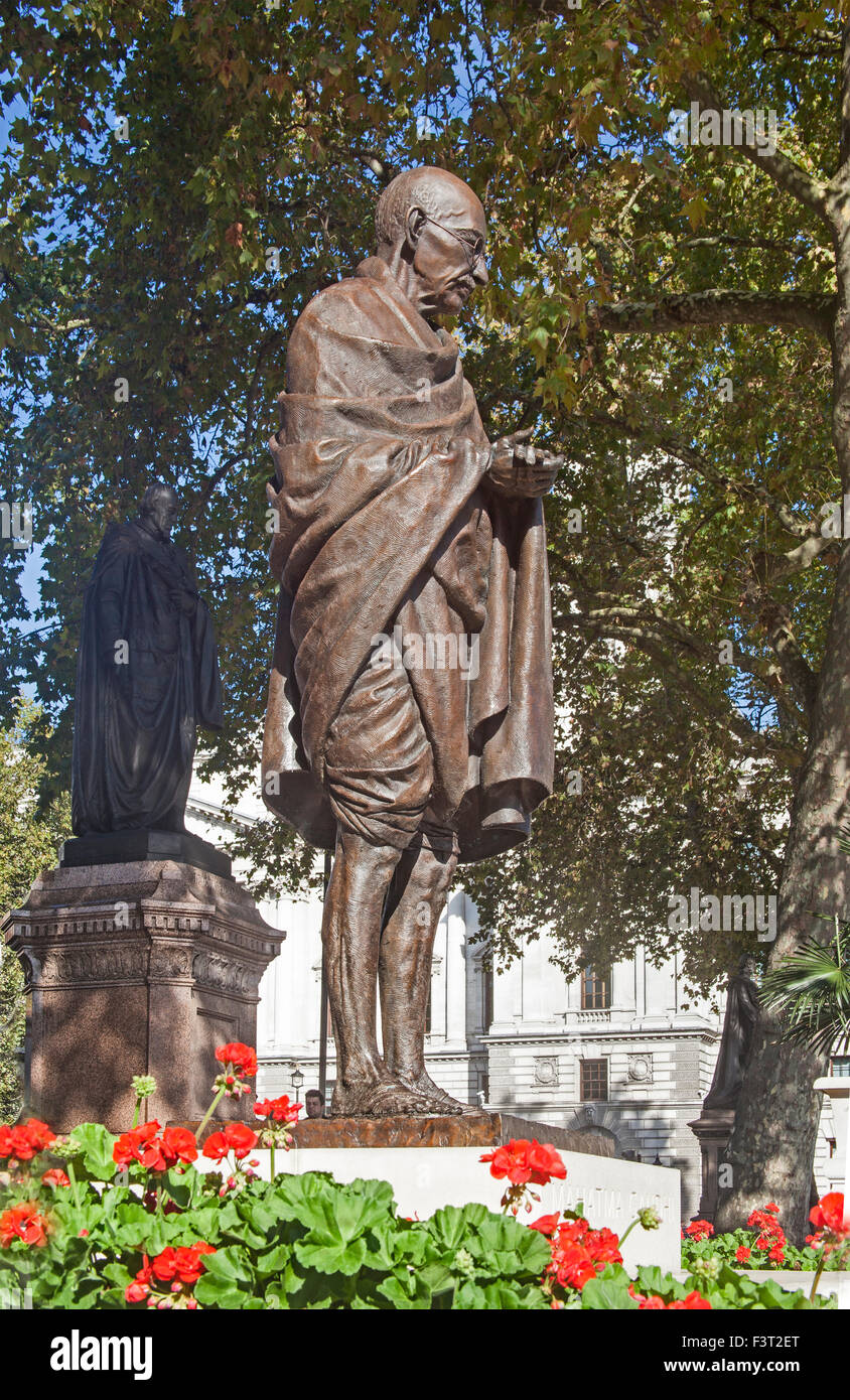 London, Westminster  The statue of Mahatma Gandhi in Parliament Square - Stock Image