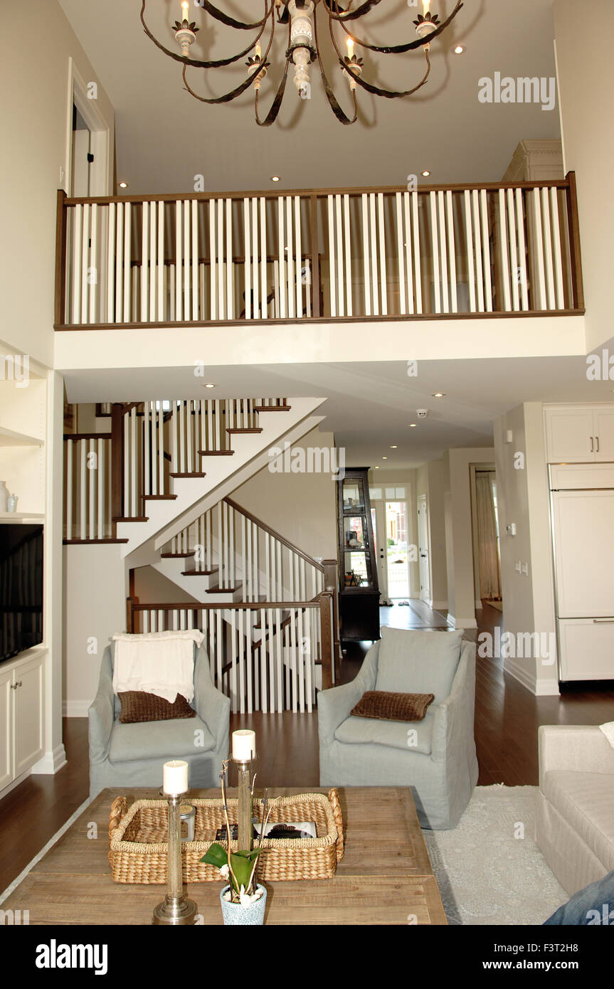 . A big elegant living room and hallway and staircase too second floor