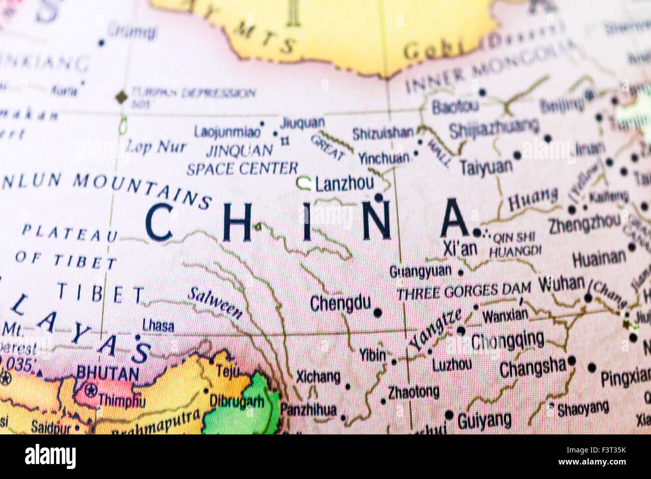 China provinces map atlas country view regions cities name names words - Stock Image
