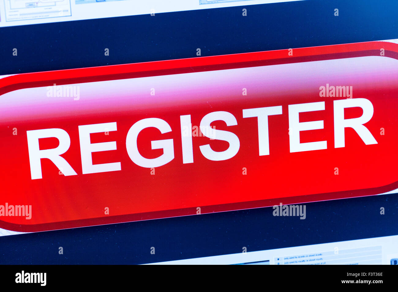 register button for website join homepage online screen screenshot web site internet net - Stock Image