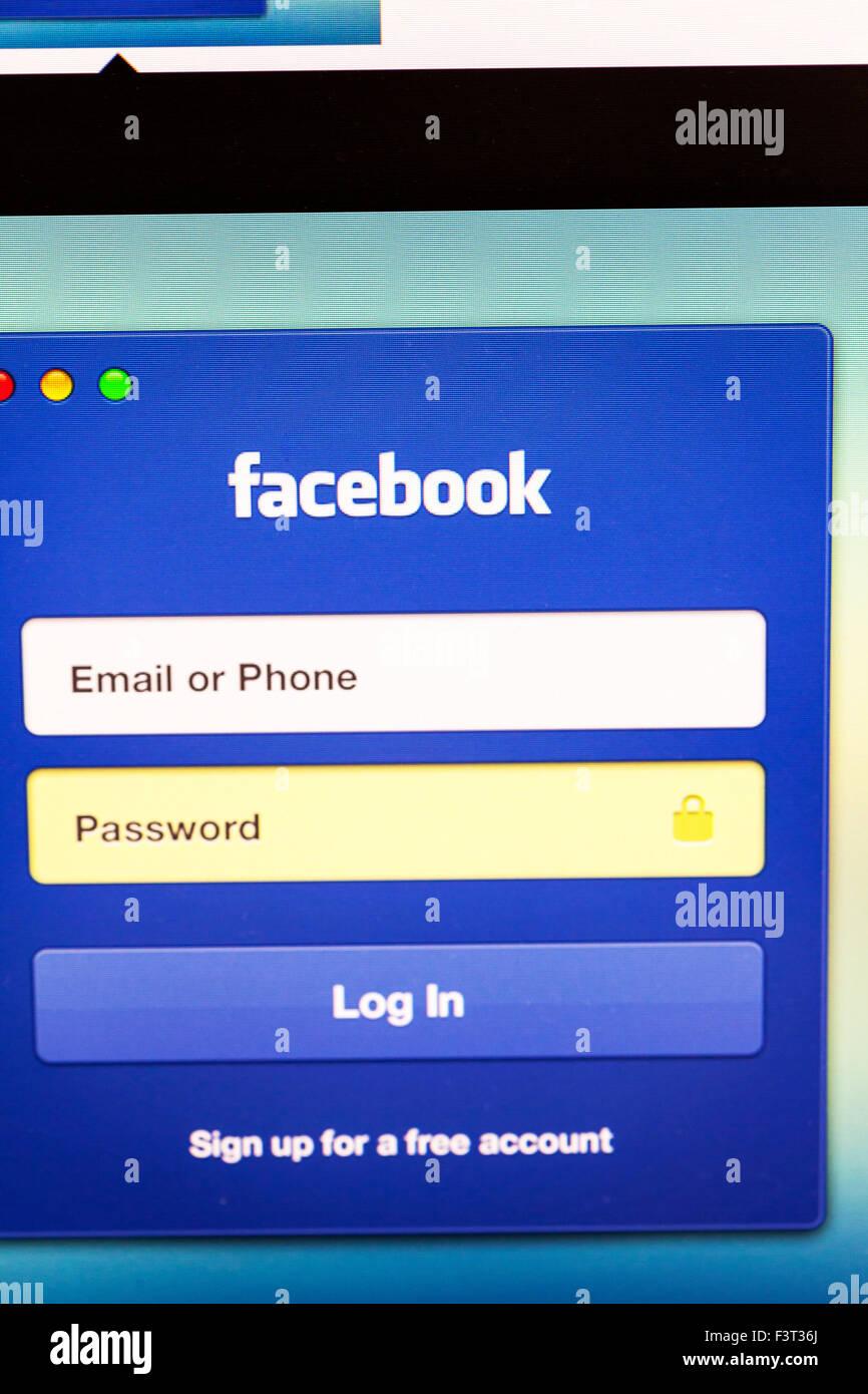 Facebook log in login security password secure website homepage online screen screenshot web site internet net - Stock Image