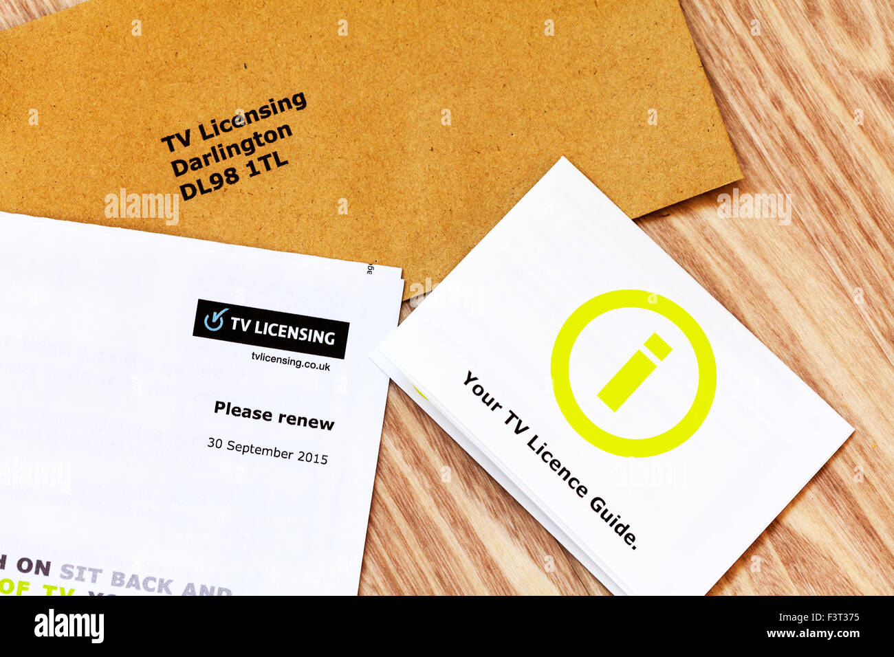 TV License renew renewal licensing bill billing letter UK England - Stock Image