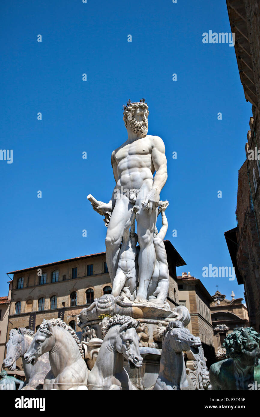 Statue of Neptune Poseidon as part of the fountain on Piazza della Signoria in Florence - Stock Image