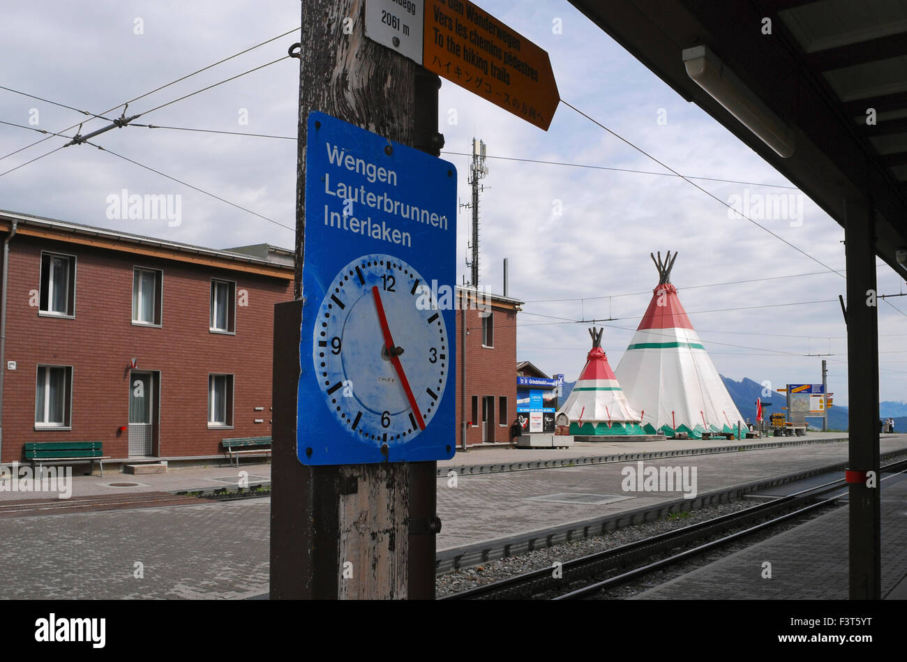 Kleine Scheidegg train station Jungfrau region Switzerland - Stock Image