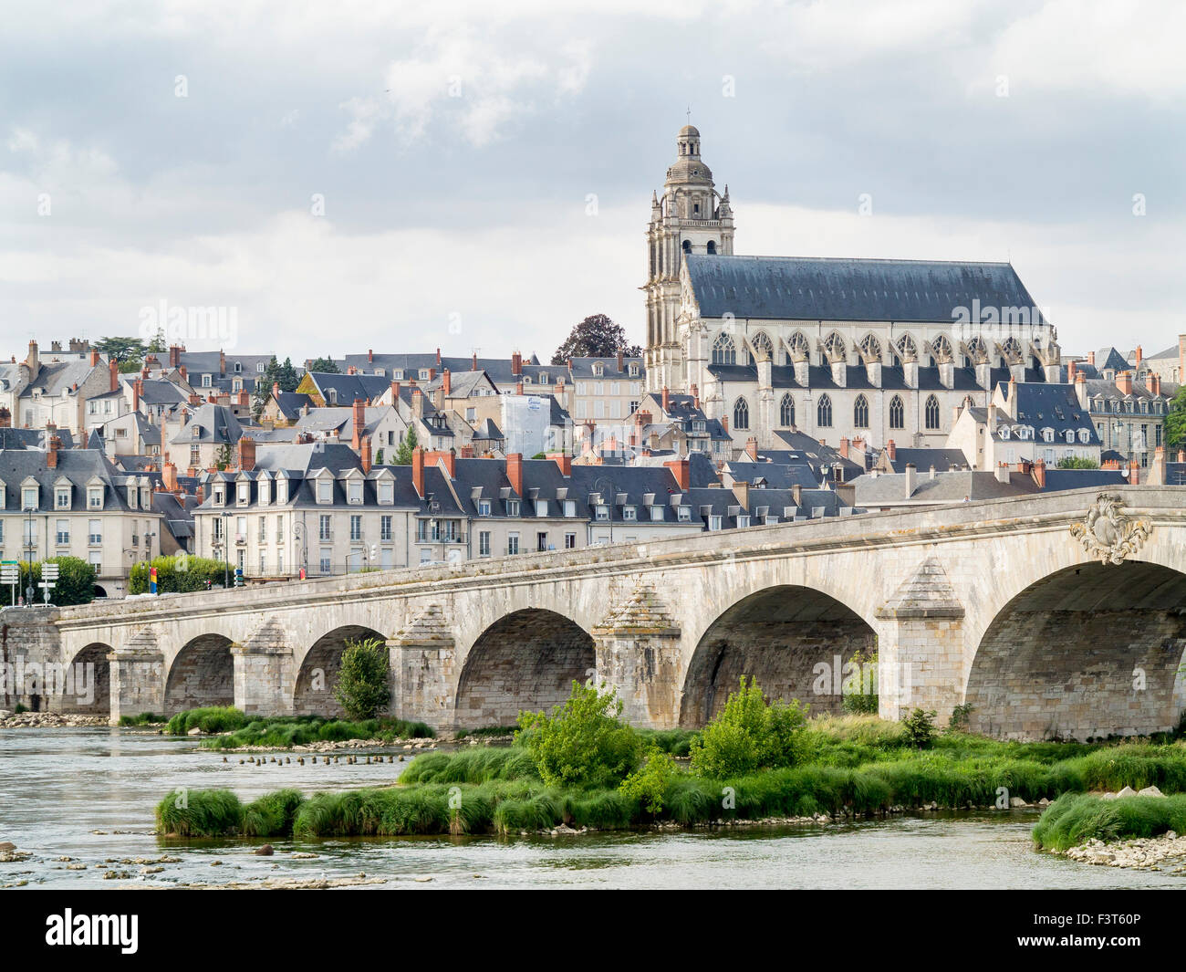 The architecture of the town centre of  the Loire Valley town of Blois which is situated on the River Loire in France. - Stock Image