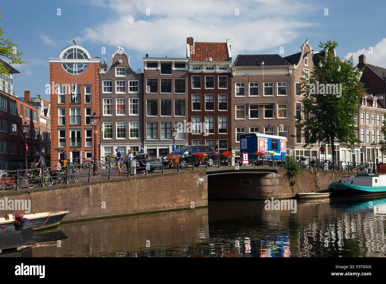 Historic houses on the corner of Bloemgracht and Prinsengracht Amsterdam Netherlands - Stock Image