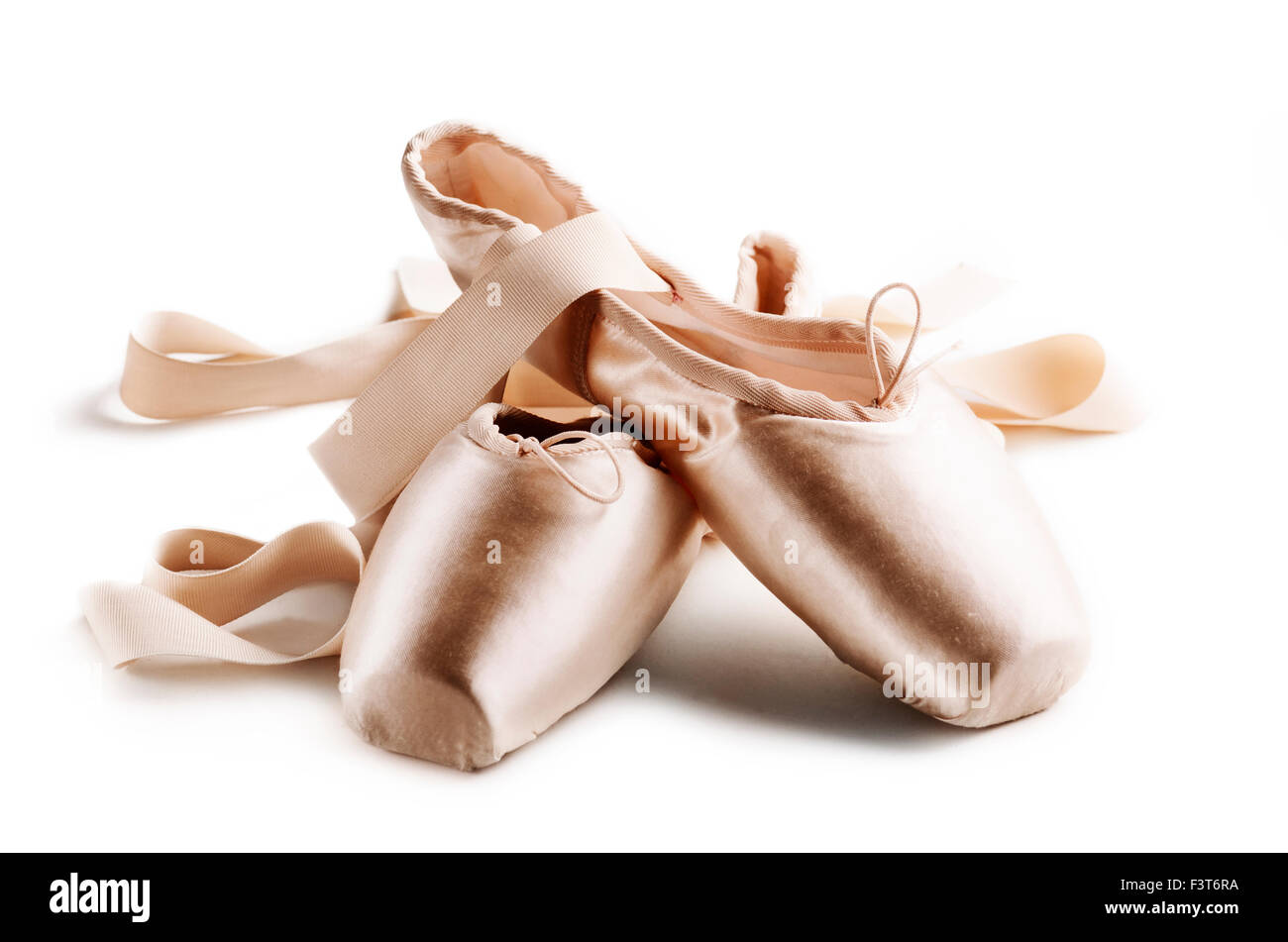 Pointe shoes isolated over white background - Stock Image