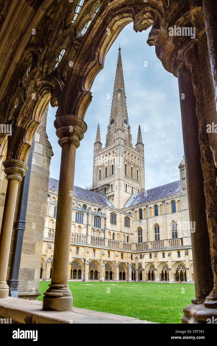 The cathedral spire from the cloisters, Norwich Cathedral, Norwich, Norfolk, England, UK - Stock Image
