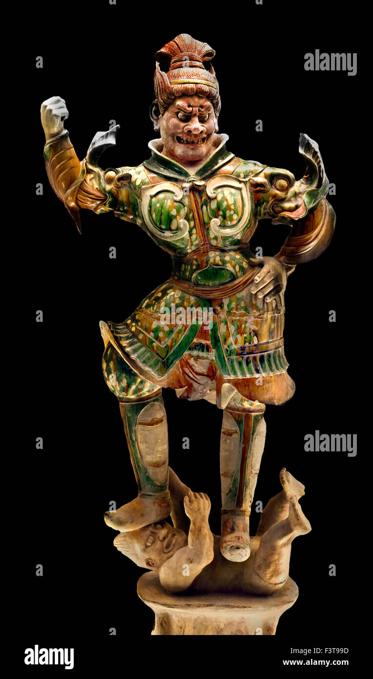 Polychrome Glazed Pottery Statue of Heavenly Guardian  618 - 907 AD Tang Han Dynasty ( Shanghai Museum of ancient - Stock Image