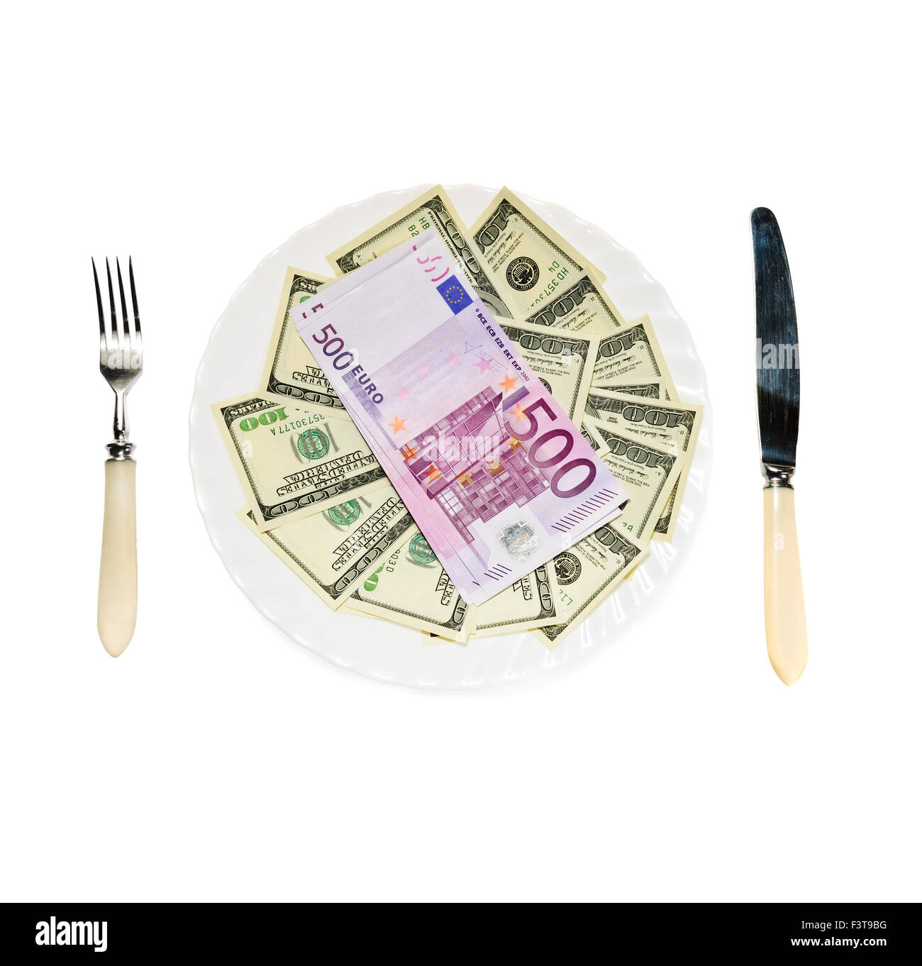 Money on plate isolated on white background Stock Photo