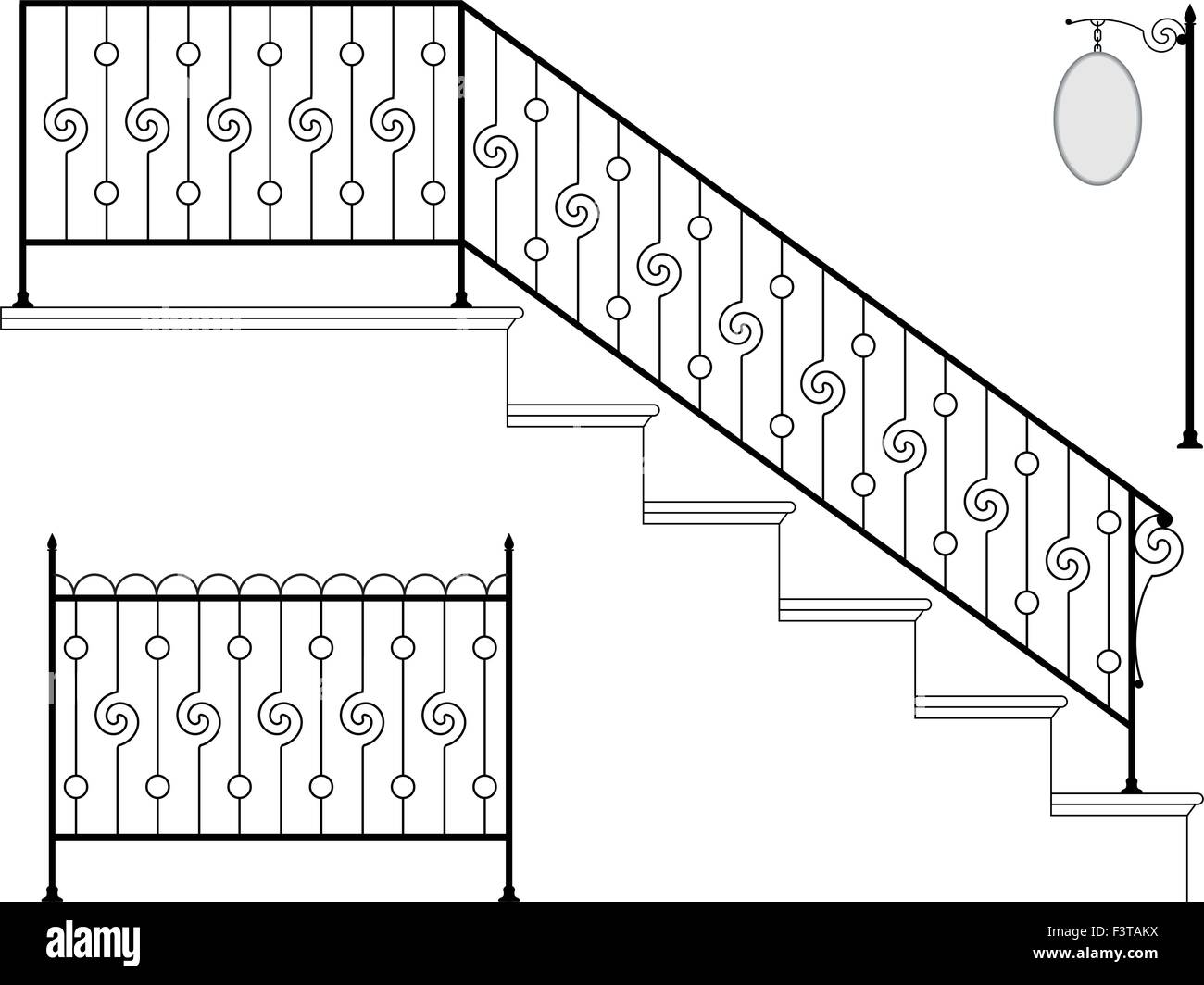 wrought iron stair railing design vector art stock vector art Wall Iron Railings wrought iron stair railing design vector art
