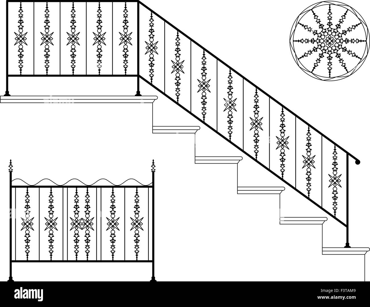 stair railing stock vector images alamy rh alamy com